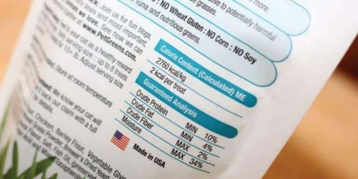 Crude protein in cat food