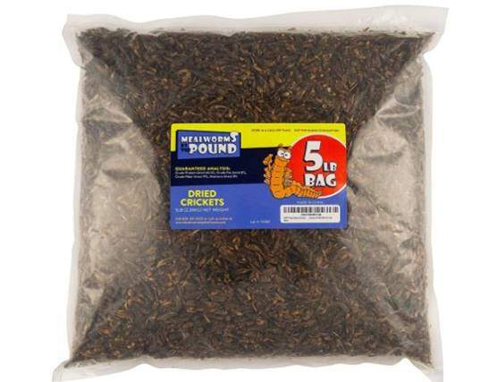 Mealworms by the Pound MBTP Bulk Dried Crickets - Treats for Chickens & Wild Birds (5 Lbs)