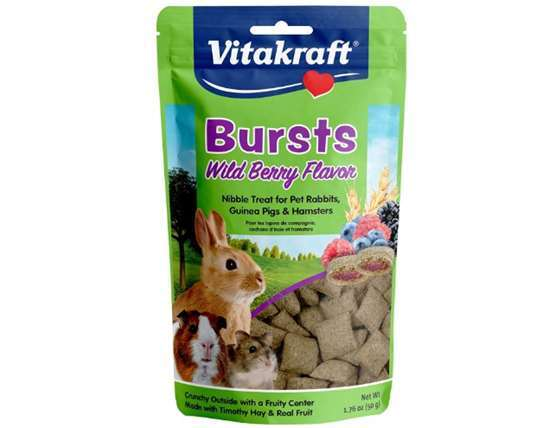 Vitakraft Bursts Wild Berry Flavor Treats for Rabbits, Guinea Pigs & Hamsters