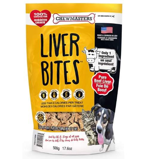 Chewmasters Beef Liver Bites Freeze Dried Dog Treats Bag