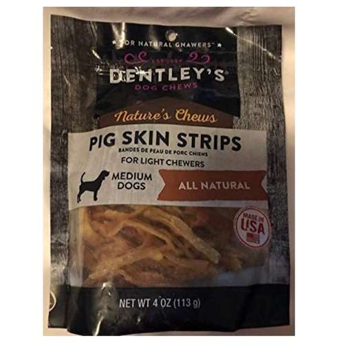 Dentley's Dog Chews for Lite Chewers (Medium Dogs) All Natural Pig Skin Strips