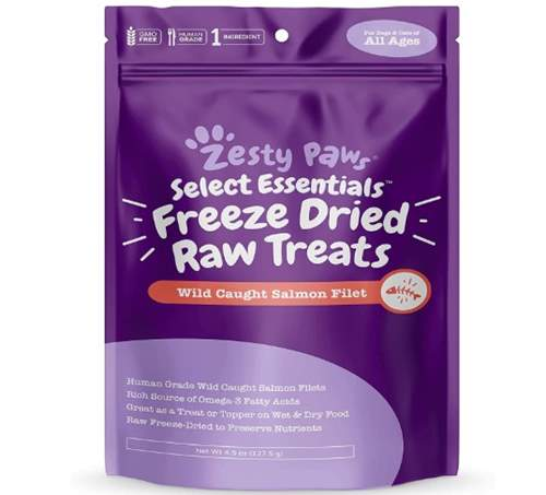 Zesty Paws Freeze-Dried Raw Salmon Fillet Treats for Dogs and Cats