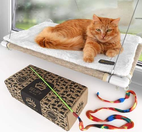 Cat Window Hammock - Free Fleece Blanket and Toy – Extra Large and Sturdy – Holds Two Large Cats