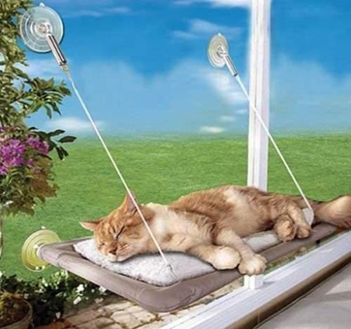 PETPAWJOY Cat Bed, Cat Window Perch Window Seat Hammock