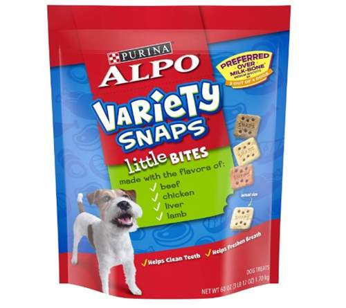 Purina ALPO Variety Snaps Little Bites Dog Treats with Beef, Chicken, Liver & Lamb