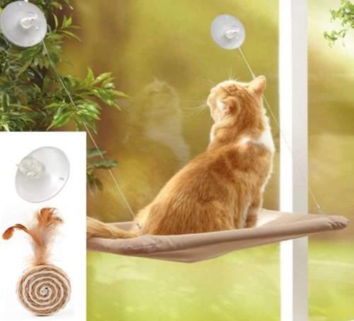 ZALALOVA Window Cat Seat, Cat Window Perch Hammock Space Saving Design
